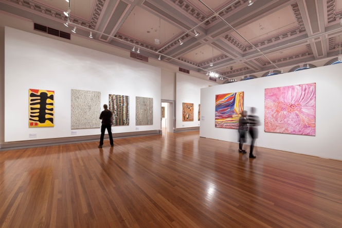 Warlayirti: The Art of Balgo  at RMIT Gallery, 16 September – Saturday 8 November, 2014. Photo: Mark Ashkanasy, 2014.