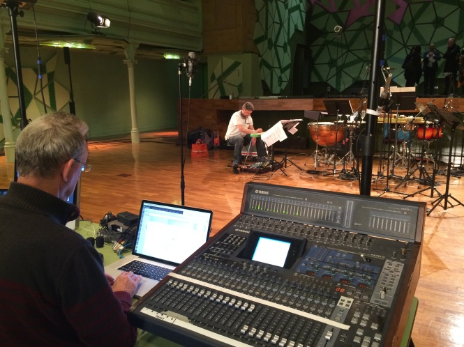 Daryl Buckley rehearsing in RMIT Storey Hall Auditorium for the Australian premiere of Richard Barrett's world-line cycle.