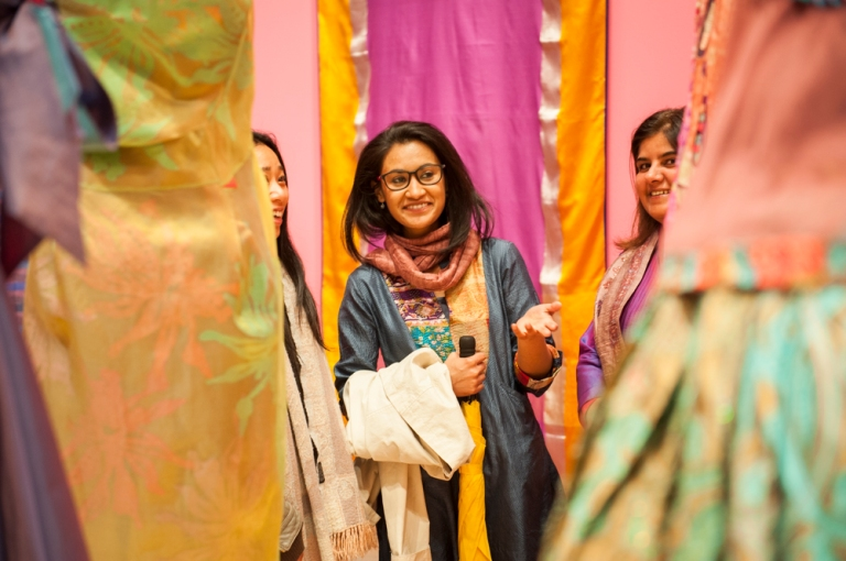 Enjoying the exhibition Unfolding: New Indian Textiles at RMIT Gallery. Image - Vicki Jones Photography, 2015.