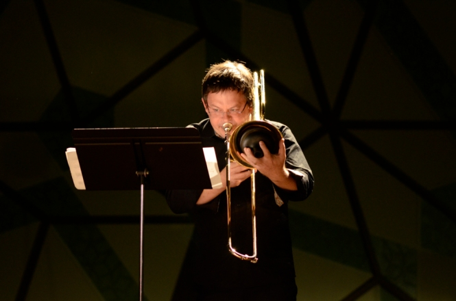 Ben Marks, on trombone, performing Timothy McCormack's Heavy Matter. Photo: Vicki Jones Photography.