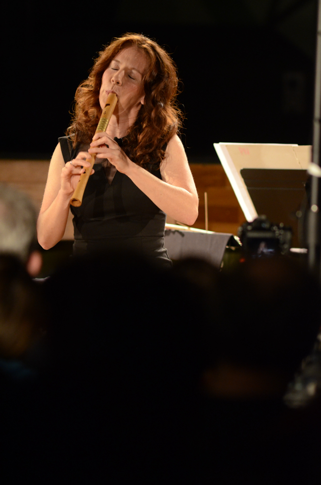 Genevieve Lacey, on solo Ganassi recorder, performing 2.Liza Lim's Weaver of Fictions. Photo: Vicki Jones Photography.