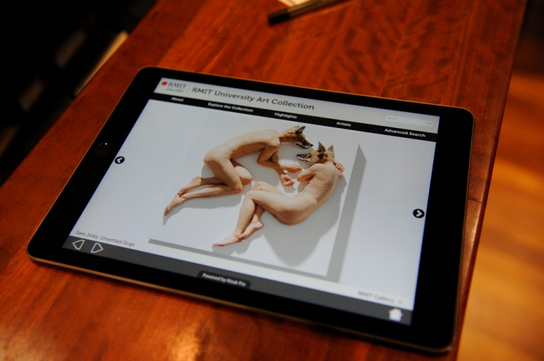 Accessing the RMIT Art Collection online. Picture: Vicki Jones Photography