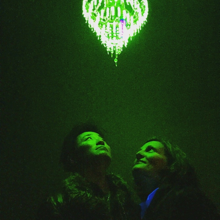 Ken and Julia Yonetani under their 'Crystal Palace' chandelier at RMIT Gallery in the exhibition Japanese Art After Fukushima. Photo: Evelyn Tsitas