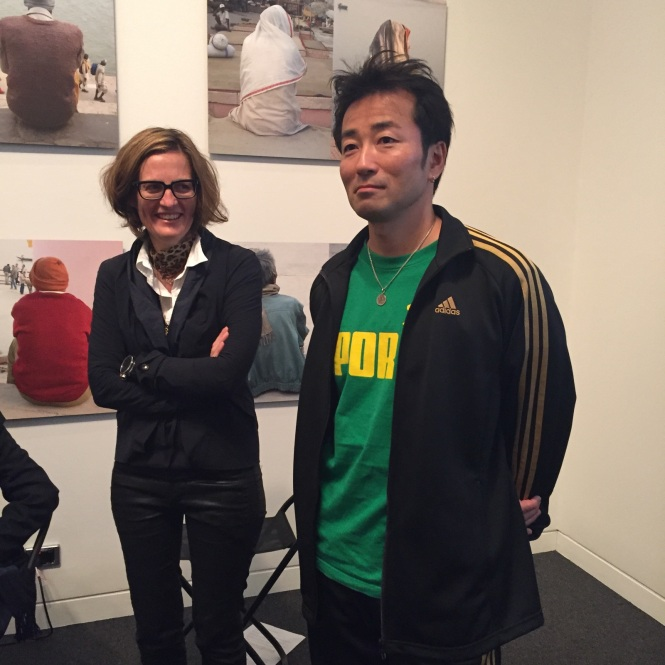 Julia and Ken Yonetani at RMIT Gallery for their artist talk on May 26. Works behind them are from the exhibition