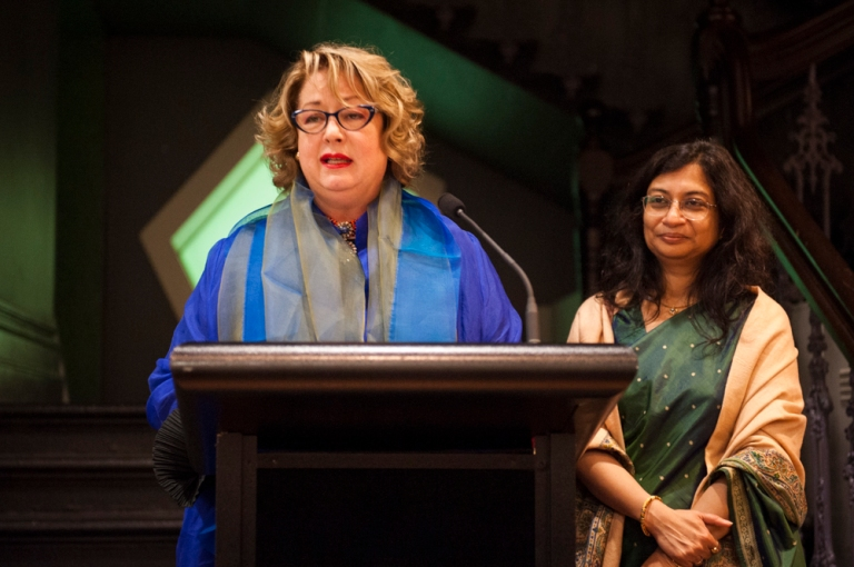 RMIT Gallery opening of Unfolding on 26 March - RMIT Gallery Director Suzanne Davies (at podium) with Ms Manika Jain, Acting High Commissioner of India, who provided the opening address. Photo: Vicki Jones Photography
