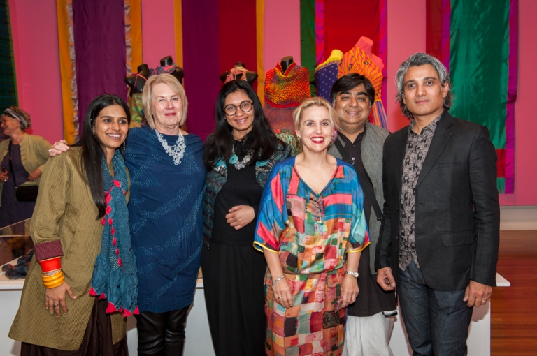 RMIT Gallery opening of Unfolding with (left to right) visual artist Parul Thaker, curator Maggie Baxter,and Play Clan designers  Dhruti and Himanshu Dogra. Photograph Vicki Jones.