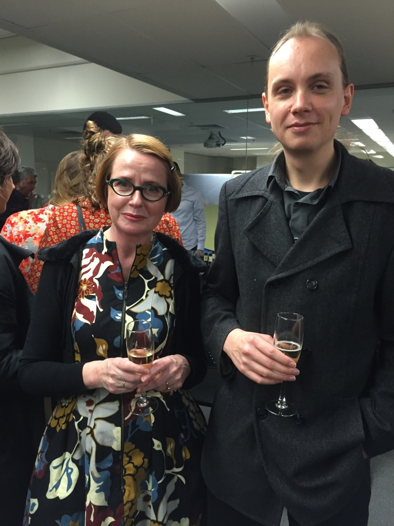 Launch night: Susan Wyers, who curated Referencing Artists (Works from RMIT alumni, staff and past staff) and Jon Buckingham, who curated Against The Grain (works from the RMIT Collection) Curated by Susan Wyers.