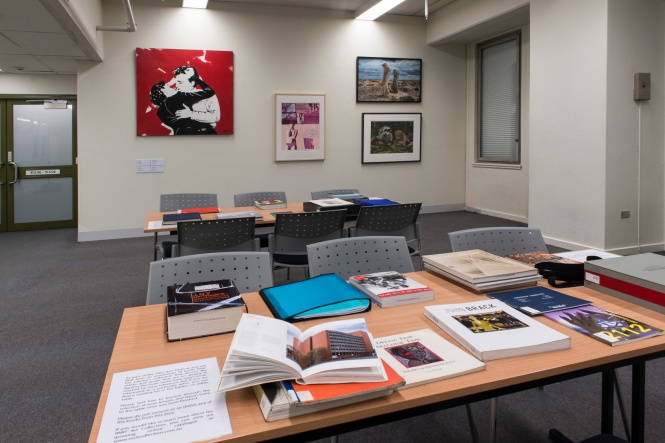 Against The Grain, Art from the RMIT Collection., with books from RMIT library. Photo. Margund Sallowsky, 2015.