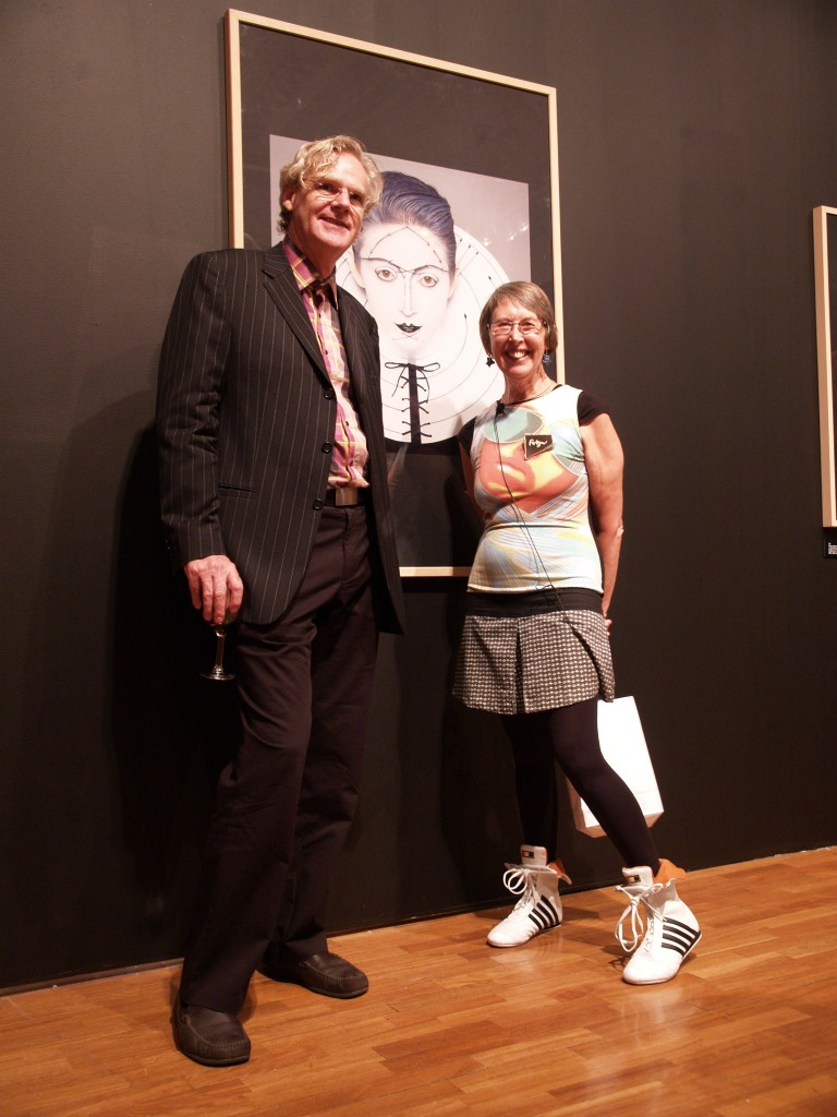 Richard Dunn, Emeritus Professor of Contemporary Visual Art at the University of Sydney, and Robyn Beeche, at the opening of Fashion Face, RMIT Gallery 2007.