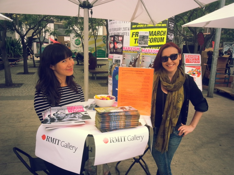 RMIT Gallery volunteers recruiting at Open Day. Photo Evelyn Tsitas