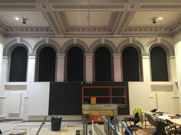 RMIT Gallery's main exhibition space, with arched windows revealed during building works.