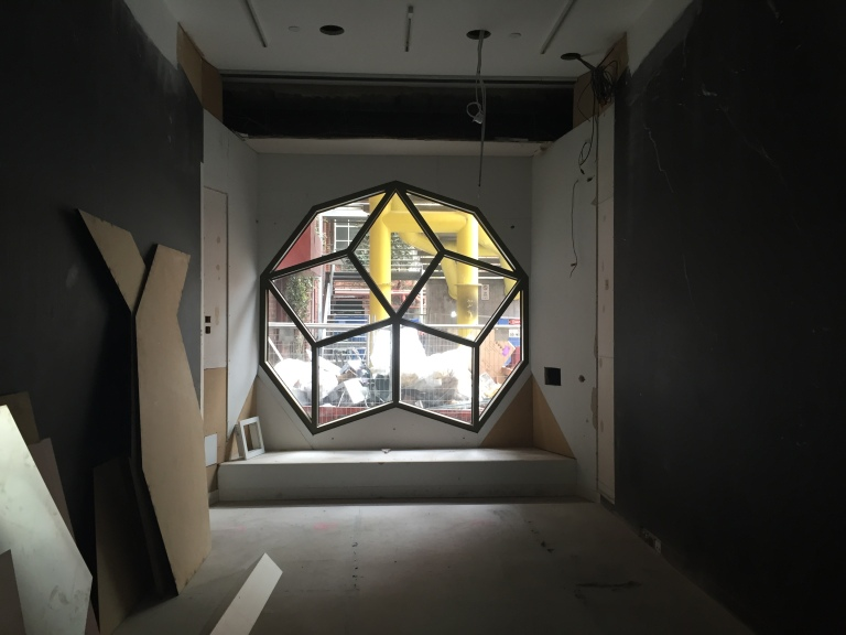 One of the geometric windows designed by Ashton Raggatt McDougall - usually covered up to create a functional exhibition space.