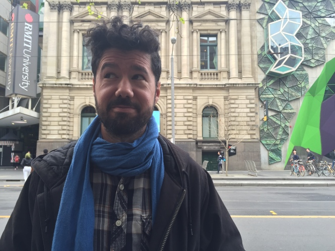 Julio Falagán outside RMIT Gallery