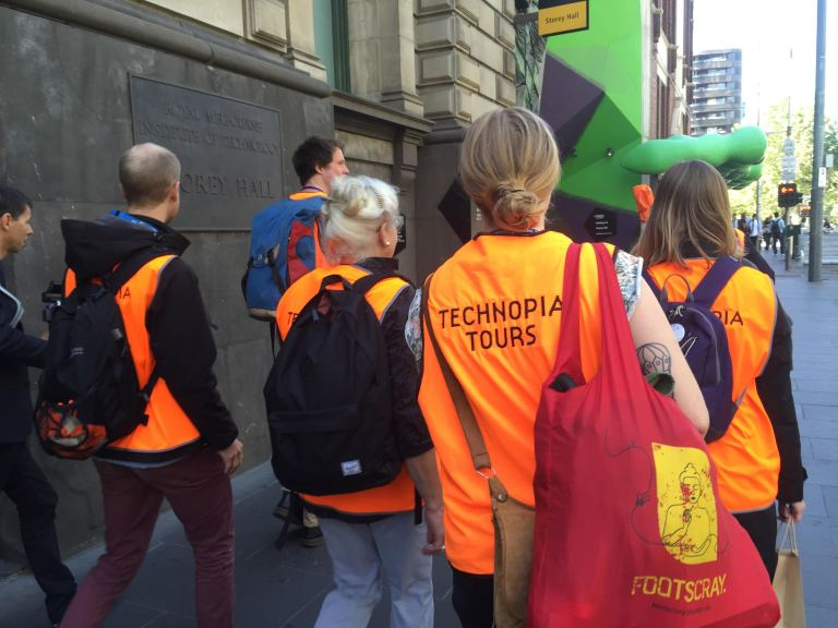 Off to see the city: Technopia Tours leave RMIT Gallery. Photo: Evelyn Tsitas