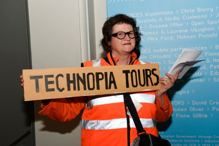 Technopia Tours - Working Melbourne. As part of Performing Mobilities, Kim Donaldson takes people on tours that reveal Melbourne at work. Photo: Vicki Jones Photography.