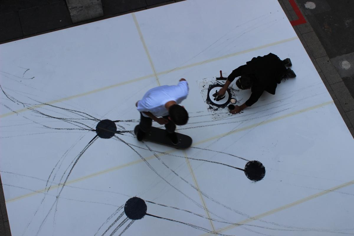 Inking up: Performprint's Joel Gailer prepares the ink spots