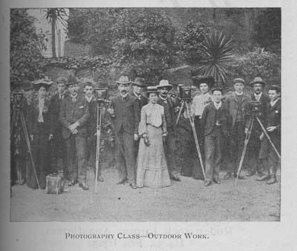 Photography class, outdoor work 1904. RMIT University Archives Collection Working Men's College Prospectus 1904, page 87 S0628