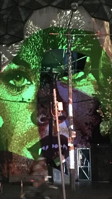 Jazmina Cininas, light projection test on RMIT Storey Hall, photo by Helen Rayment, RMIT Gallery